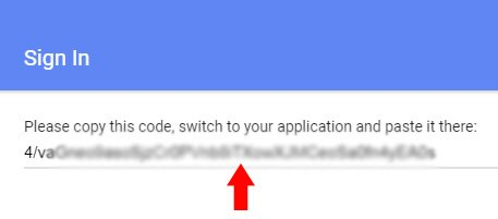 google console authorization code