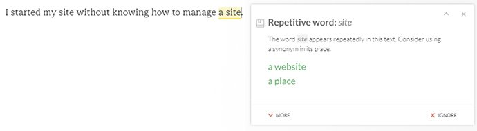 grammarly repetitive word