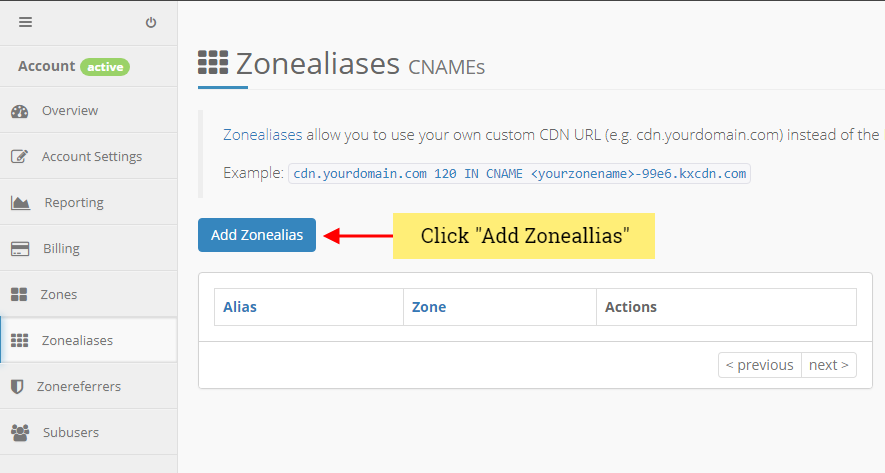 keycdn add zone alias