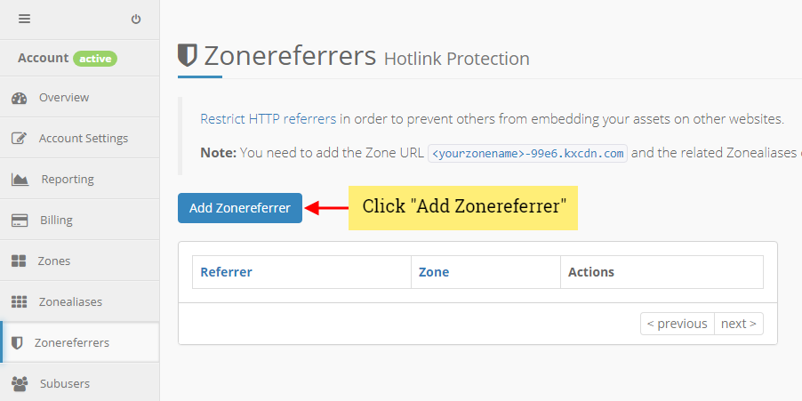 keycdn add zone referrer