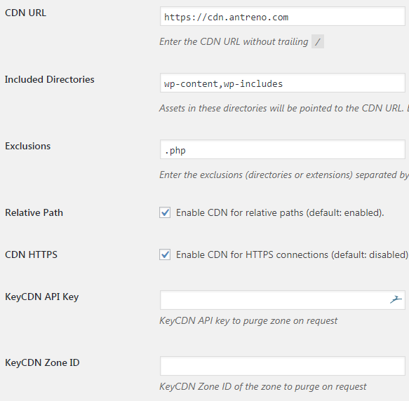 keycdn wordpress plugin options