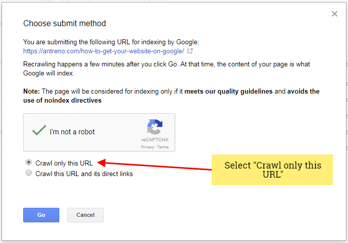 submit url to google index
