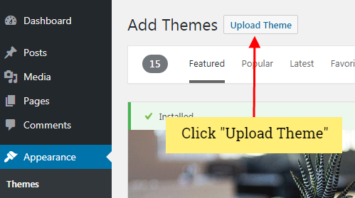 upload wordpress theme