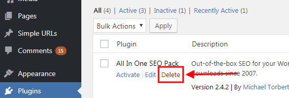 wordpress delete plugin