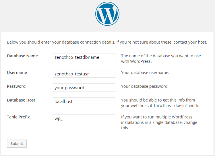 wordpress installation step 3