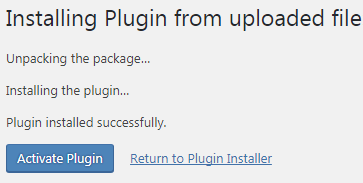 wordpress plugin uploaded successfully