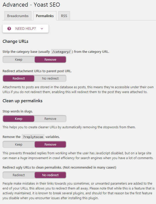 yoast advanced permalinks