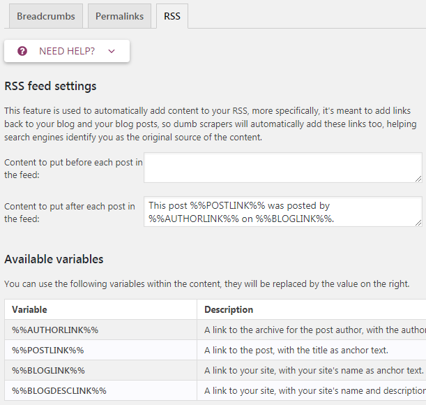 yoast advanced rss
