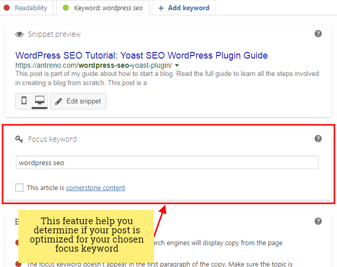 Yoast Keyword analysis