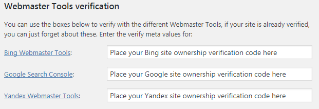 yoast webmaster site verification