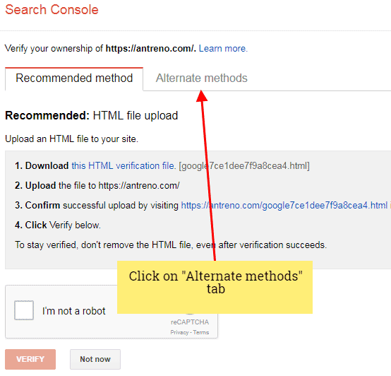 Google Console alternate methods site verification