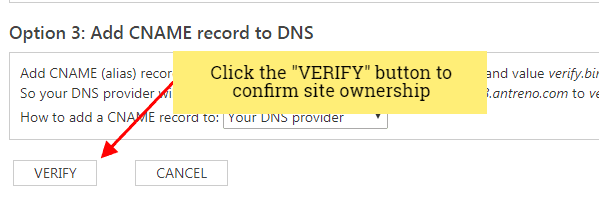 bing webmaster tools verify site ownership