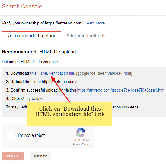 verify site ownership google console