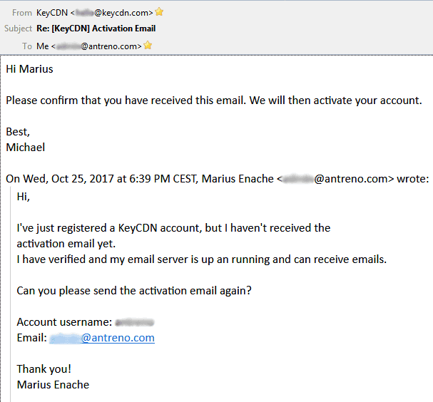 keycdn support