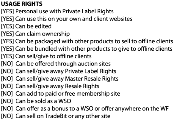plr rights checklist