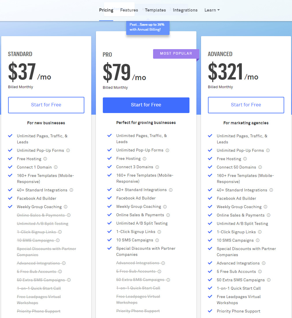 LeadPages monthly pricing plans