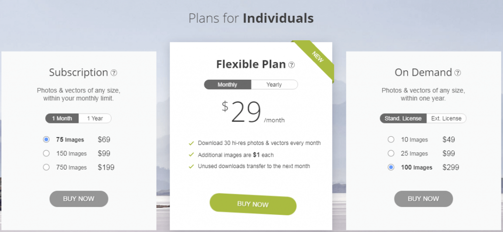 Depositphotos Plans for Individuals