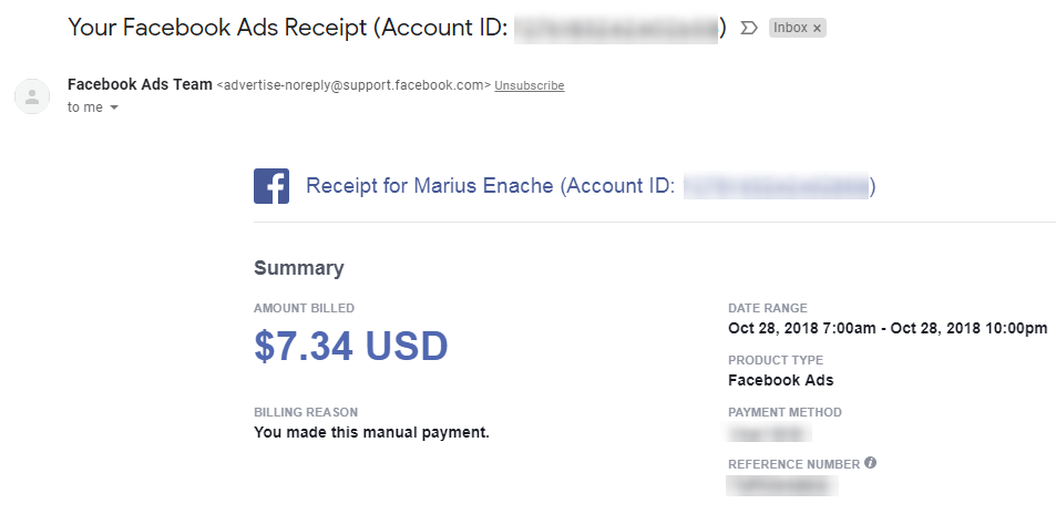 Facebook Ads Receipt