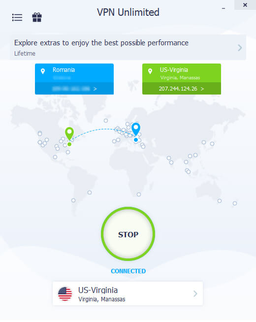 VPN Unlimited connected to US